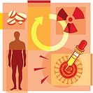 Montage illustration about gene therapy containing a man, pills, a dropper, a radioactive symbol