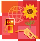 Montage illustration about biofuel containing sunflower, gas pump and globe