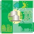 Montage illustration about bio energy and gas containing sun, clouds, rain, cow, plant, city and pylons