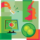 Montage illustration about cell research containing scientific testing, a microscope, a computer, and cell division
