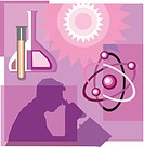 Montage illustration about modern science containing molecules, chemicals, and a scientific researcher