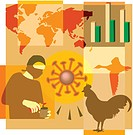 Montage illustration about pandemics containing a virus, bird flu, graphs, world map and a person with face mask
