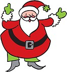 Illustration of Santa Claus with one hand pointing up and the other pointing out