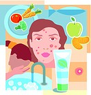 Collage of fresh fruit and vegetables, a face with acne, facial cleanser, a pimple, and a person washing face