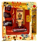 Collage of a Buddha statue with Asian spices and food