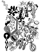Black and white abstract floral pattern (thumbnail)