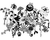 Black and white floral organic shapes and patterns