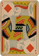 King of Diamonds vintage playing card (thumbnail)