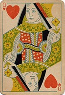Queen of Hearts vintage playing card (thumbnail)