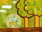 Illustration of a man practicing Tai Chi next to trees