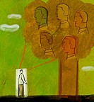Illustration of a man standing in front of a tree with five human heads on it