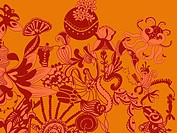 A whimsical orange and red floral decorative background
