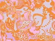 A blue, orange and pink whimsical floral background