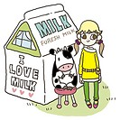 A girl and a cow in front of a carton of milk