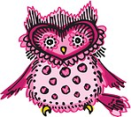 A pink owl with hearts and spots on its chest