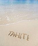 Tahiti written on sand
