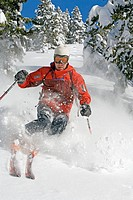 Man skiing, Sun Valley, Idaho, USA