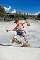 Man skateboarding, Sun Valley, Idaho, USA