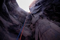 Rope hanging donw a cave on the slick roack trail near Arches Bows national Park Utah USA