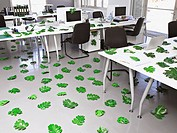 Leaves lying around modern office