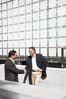Businessmen shaking hands outdoors