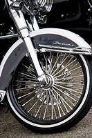 Close_up shot of Harley Davidson motorcycle spoked wheel