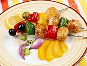 green, skewered food, red, pepper, chicken, cooking, skewer