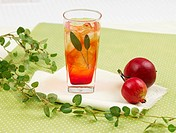 decoration, leaf, food styling, table mat, tablecloth, pomegranate, glass cup