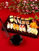 soy sauce, plate, chopsticks, decoration, food styling, sushi plate