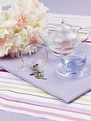 food styling, glass pot, flower, table mat, tablecloth, decoration, glass cup