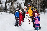 Family portrait with snowman