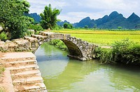 Footbridge over a river, Yangshuo, Guangxi Province, China (thumbnail)
