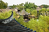 High angle view of a gazebo, Yu Yin Shan Fang, Panyu, Guangzhou, Guangdong Province, China