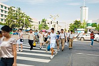 Group of people crossing the road, Hefei, Anhui Province, China