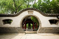 Pavilion viewed through a wall, Songyang Academy, Shaolin Monastery, Henan Province, China