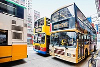 Buses on the road, Hong Kong Island, Hong Kong, China