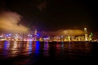 Skyscrapers at the waterfront, Victoria Harbor, Hong Kong Island, Hong Kong, China