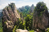 Panoramic view of a mountain range, Huangshan, Anhui province, China