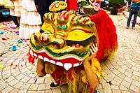 Person in Chinese dragon costume, Qingdao, Shandong Province, China