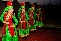 Four young women dancing, Inner Mongolia, China
