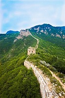 High angle view of a fortified wall, Great Wall Of China, Beijing, China