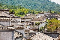 High angle view of houses in a village, Xidi, Anhui Province, China