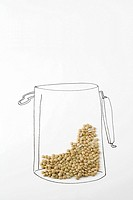 Lentils on drawing of canister