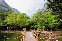 Footbridge over a pond, Taihang Grand Canyon, Linzhou, Henan Province, China (thumbnail)