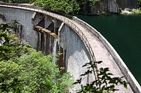 High angle view of a dam, Huangshan Mountains, Anhui Province, China (thumbnail)