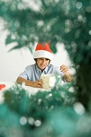 Boy wearing Santa hat, opening gift, viewed through branches of Christmas tree