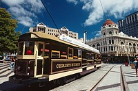 New Zealand - South Island - Canterbury - Christchurch - the Cathedral Square -Tram (thumbnail)
