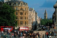 England _ London _ St James district _ Trafalgar Suqare _ Whitehall and Public Garden
