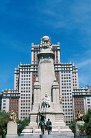 Spain _ Madrid _ Plaza de Espagna _ Edificio de Espana _ monument to Miguel de Cervantes