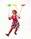Portrait of Clown Spinning Plates, Front View